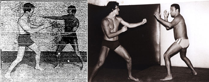 Carlos & George Gracie training 1933 (left), Rolls & Carlson Gracie training in late 1960's (right)